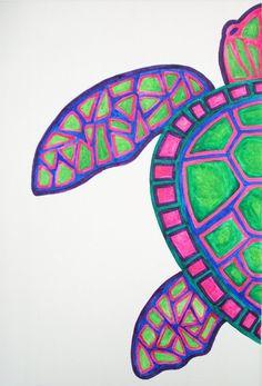 Original tortuga acuarela decoración de la pared de mar