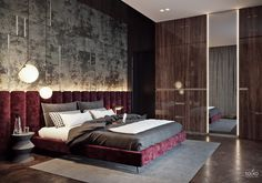 Luxurious modern apartment /BEDROOM Red velvet bed and headboard with concrete and glossy wood room. Modern and regal.