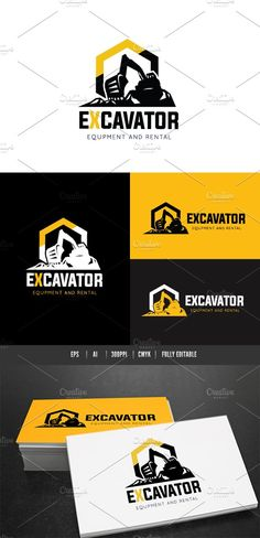 Excavator Logo by Super Pig Shop on @Graphicsauthor
