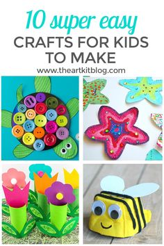 10 Super Easy Crafts for Kids. Looking for a few new fun and easy crafts for kids? We've compiled ten fun, no stress, easy crafts for kids that are perfect for those times you don't have a lot of time to devote to craft time or don't want to worry about cleaning up a huge craft mess. :)  To see all the fun, please continue reading on the blog. #easycraftsforkids  via @theartkit