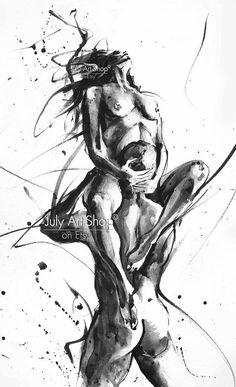 Art prints Original watercolor painting Erotic art Black white #artpainting