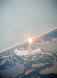 A Space Shuttle launch from above