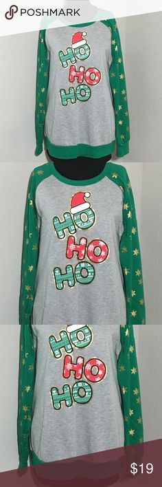 """Holiday Sweatshirt Ho Ho Ho Christmas Snow Flakes Women's Holiday Time crewneck holiday Christmas sweatshirt HO HO HO with snowflakes on the sleeves Sz XXL (19) measurements 23.5"""" armpit to armpit, 29"""" shoulder to hem, 26.5"""" sleeve Excellent condition no flaws Holiday Time Tops Sweatshirts & Hoodies"""