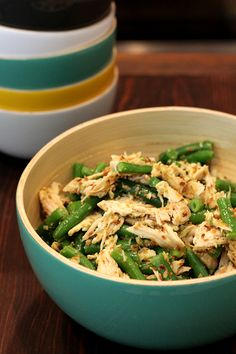 Chicken and Green Bean Salad With Toasted Coconut and Jerk Dressing - paleo and gluten free recipe.  Perfect for a Superbowl potluck.