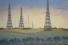 William Thomas Rawlinson (British, 1912-1993), A 'Type CH' (Chain Home) Radar Station on the West Coast, 1946. Oil on canvas, 50.8 x 76.2 cm.