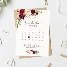 Save The Date Card Floral Calendar Save The Date Watercolor Save The Date Boho Marsala Burgundy Maroon Printable Printed spring Wedding Planning List, Wedding List, Wedding Save The Dates, Wedding Cards, Save The Date Karten, Save The Date Cards, Wedding Invitation Design, Wedding Stationery, Engagement Invitations