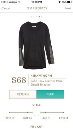 Stitch Fix fashion. Ask your stylist to send you this 41Hawthorn Joan Faux Leather Panel detail sweater. Very versatile. Dress it up or down. Super comfortable! #Stitchfix #sponsored