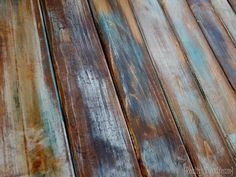 The finished stained wood looks great! SUPER SIMPLE technique for making brand new wood look like old barn boards! Old Wood, Rustic Wood, Salvaged Wood, Rustic Barn, Rustic Cabins, Log Cabins, Rustic Decor, Rustic Furniture, Diy Furniture