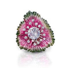 Leviev Carved Watermelon Tourmaline and Diamond Ring - Shop Luxury Jewelry | Editorialist