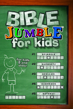 Bible Jumble for Kids. by Christopher Hudson (Author) The classic favorite Jumble puzzles are now available with Bible-based content just for kids! Each Jumble relates to a Scripture passage listed on the Jumble page so that kids can read and learn about the Bible verse or story. This book includes a mix of six different types of Jumbles: Kids and their parents will have fun solving all 200 puzzles while learning more about the Bible.