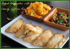 Easy Baked Empanadas with Cheesy Saffron Rice and Salsa- such a satisfying meal! @shugarysweets #dinner #recipe