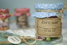 'Love Is Sweet' Sweetie Jar Favour Possible favour idea - still not sure? Filled with old fashioned sweets rosey apples, rhubarb and custard, bon bons, etc. Wedding Jars, Wedding Favours, Our Wedding, Wedding Gifts, 1940s Wedding, Wedding Ideas, Wedding Things, Summer Wedding, Wedding Stuff