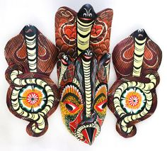 Wall mask  Hand Kaduru wood carved natural paint handmade by ICMCM