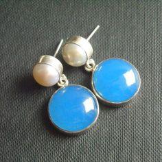 Corn flower blue chalcedony pearl earrings - post earrings jewelry