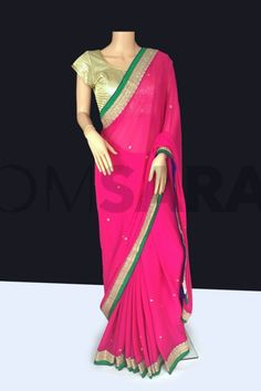 Red Chiffon/Georgette Saree With Readymade Blouse – UK Designer Asian Clothing
