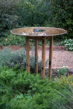 Spun Copper Birdbath and Re-cycled hardwood stand by Mallee Design