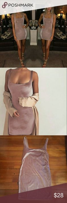 *New* Scoop-Back Velvet Mini Dress Brand new without tags! Poly, velvet, spandex Color is a pinkish-purple. Very easy on the eyes. Body hugging, has a nice stretch to it and this dress is quite soft.   Offers are welcome, thank you ladies! Dresses Mini
