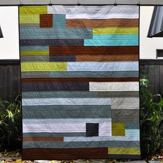stacked solids front | Flickr - Photo Sharing! xx quilt pieced masculine grey blue brown white black green solids machine quilted xx