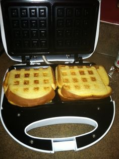 Grilled Cheese in the waffle maker, delicious! Nice and crunchy and sinfully cheesy! :)