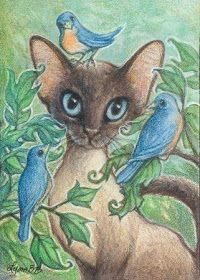 """Art by Lynn Bonnette: """"Siamese Cat & Blue Birds"""