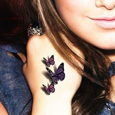 Pink and Violet Three Butterfly Tattoos