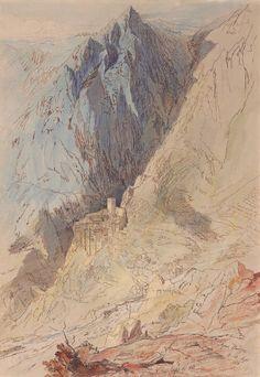 1925 – 3 monasteries by Edward Lear Landscape Drawings, Watercolor Landscape, Landscape Paintings, Watercolour, Landscapes, Mountain Art, Mountain Landscape, Turner Watercolors, Edward Lear