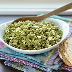 Orzo Salad with pesto, olives and feta