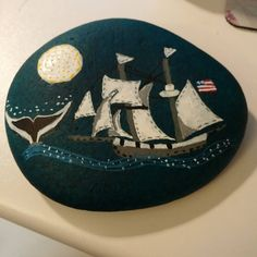 """On the sea. #painted rocks #suchfun #sailingship #heresmyhart"""