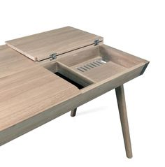 Designed by Gonçalo Campos, this electronic-ready desk is made of solid wood with compartments and workspace on both sides so two people can work together. Entry Furniture, Grey Bedroom Furniture, Eclectic Furniture, Furniture Logo, Colorful Furniture, Rustic Furniture, Furniture Design, Furniture Makeover, Smart Furniture