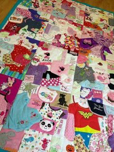 I don't have kids but thought this was a neat idea. Save your baby's clothes and then make a quilt out of them.