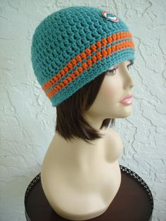 Dolphins Fins Beanie Hat Miami football Sport Team Hat by annmag