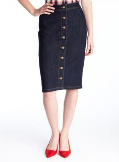 Plus Size Button Down Denim Pencil Skirt | Products, Buttons and ...