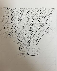 The flourishes on this alphabet are beautiful, and I've noticed they are a consistent theme in copperplate lettering. It seems that know how to add these will enhance copperplate technique by quite a bit! Graffiti Lettering Alphabet, Calligraphy Letters Alphabet, Tattoo Fonts Alphabet, Chicano Lettering, Tattoo Lettering Design, Lettering Guide, Hand Lettering Fonts, Cursive Fonts, Lettering Tutorial