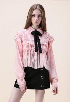 Ruffle Around Crepe Shirt in Pink