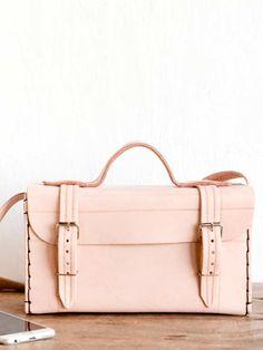 bolsa clássica couro natural rosa claro
