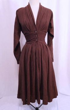 Vintage 1940s Claire McCardell Townley Pleated Fine Lines Wool Dress S | eBay