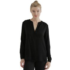 Collarless Popover in Black