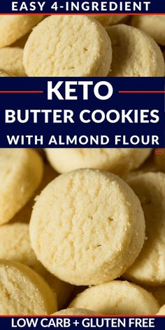 The recipe for Easy Keto Shortbread Cookies with almond flour (low carbohydrate gl . - The recipe for Easy Keto Shortbread Cookies with almond flour (low-carb gluten-free butter cookies) - Keto Butter Cookies, Low Carb Cookies, Almond Flour Cookies, Sugar Free Cookies, Almond Flour Recipes, Low Carb Sweets, Almond Flour Desserts, Recipes With Flour, Chip Cookies