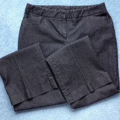 """Denim Dress pants. Denim black color. Zip front, front pockets, back button pockets. Front and back crease. Top of zipper to crotch measures 9 1/4"""". Inseam is 33 1/2"""". Hem width is 21"""". Light black denim color. Nice used condition. Modern Fit. Back pockets do not open. Worthington Pants Trousers"""