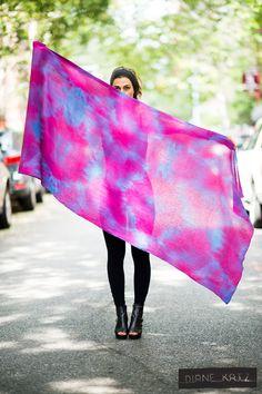 Silk Tie Dye Ombre Pink Purple Blue Scarf Shawl Wrap. $225.00, via Etsy.