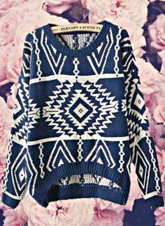 Navy aztec print sweater.