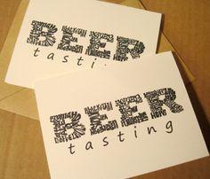 Homebrewers Art Card Pack Beer Tasting Party Typography Calligram by CalligramORama, $12.50