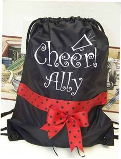 CHEER Cinch Bag Backpack  Cheerleader preppy by memoriescollection, $16.99 Youth Cheer, Cheer Camp, Cheer Coaches, Cheer Stunts, Cheer Dance, Cheer Gifts, Cheer Bows, Football Cheerleaders, Cheerleading