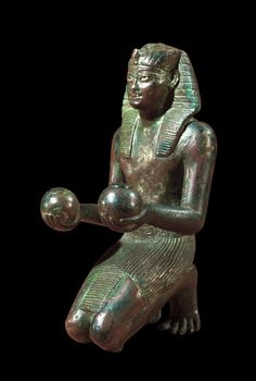 Bronze statuette of Thutmose IV in an offering pose. 18th dynasty, c. 1400-1390 B.C. | The British Museum