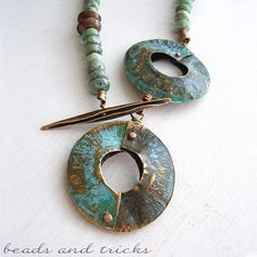 Jasper necklace imitation gold and brass with patina green, foldforming