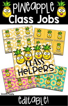 Are you looking for ideas for bright FUN Tropical Pineapple Theme Classroom Helpers or Jobs Decor? This adorable classroom decoration set includes EDITABLE options to meet your classroom needs! Pink, teal, yellow pineapple theme
