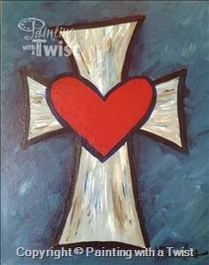 Blessings - Sherman, TX Painting Class - Painting with a Twist I really want savannah turquiouse in the background Cross Canvas Paintings, Canvas Art, Wine Painting, Valentines Art, Paint Party, Learn To Paint, Pictures To Paint, Rock Art, Painting Inspiration