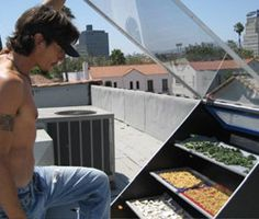 Eco Hearth website shares a how to make a solar dehydrator so you can tap into the sun rays to dry your food. This design is really amazing: it has space between the trays so air can flow and circulate and a large surface of glass so it can absorb heat quickly and keep it. This is an off the grid project.  Click for plans.