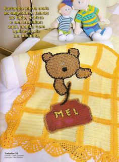 Graph Pattern:  Crochet blanket with teddy - CROCHE WITH RECIPES