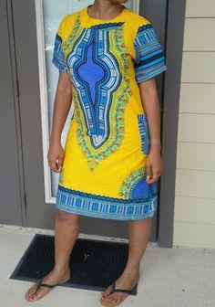 Dashiki Print Ankara Shift Dress Midi Dress Ankara Dress With Pockets in  Yellow Pink Black and eba2b6890f